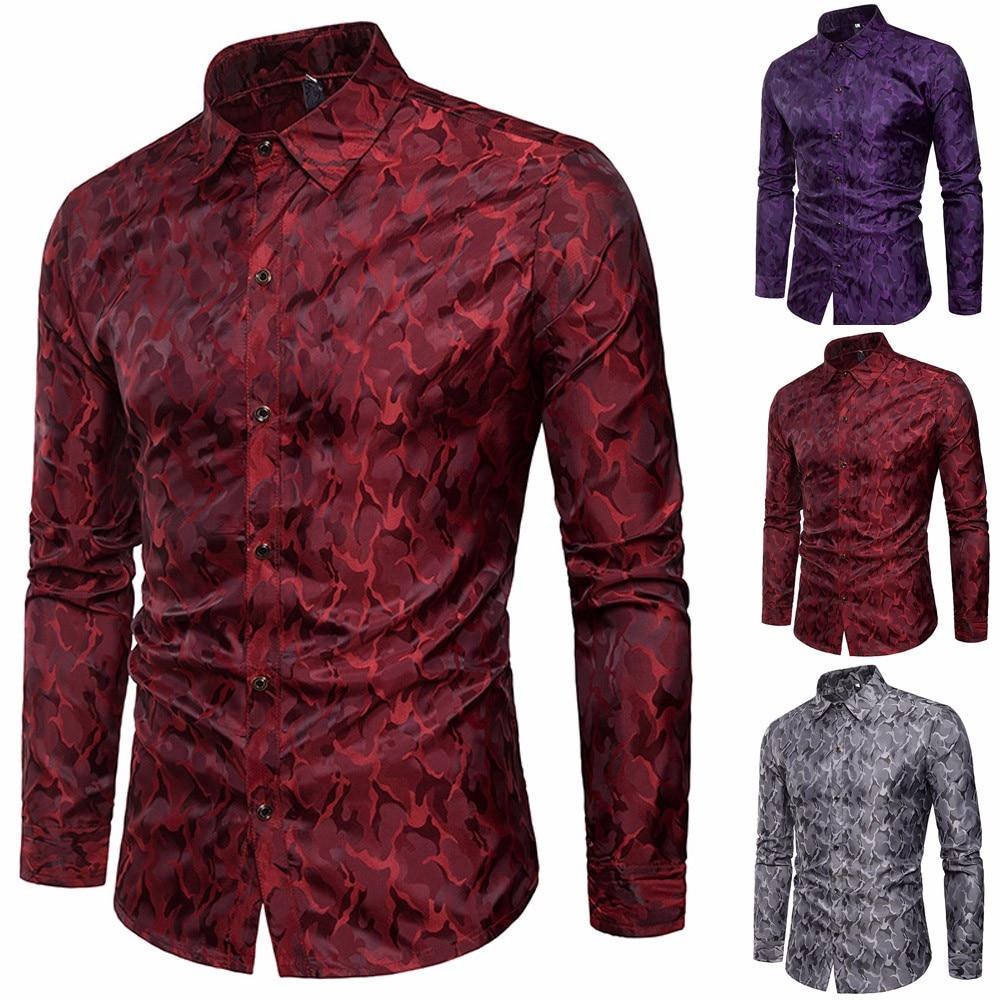 Mens Shirt Slim Fit Stripe Long Sleeve Casual Button Shirts Formal Top Blouse 2019 Mens Shirt New Fashion Camisa Masculina