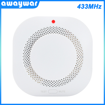 цена на Awaywar 433MHz Wireless Fire Protection Smoke Detector Portable Fire Alarm Sensors For Smart   home Security Alarm System