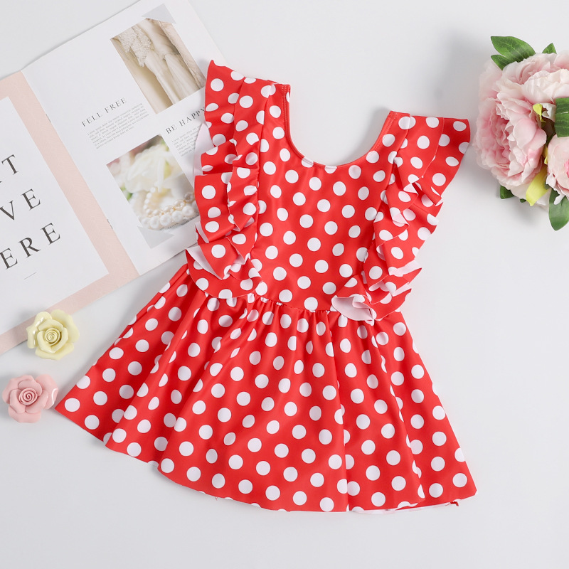 2019 Xiqi New Style KID'S Swimwear GIRL'S One-piece Swimming Suit Parent And Child Polka Dot Dress Bathing Suit