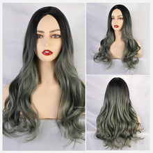 Blonde Unicorn Synthetic Long Body Wave Ombre Green Wig Middle Part