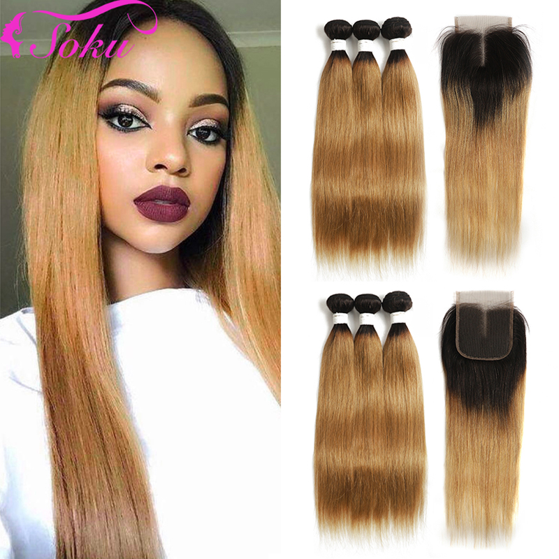 T1B/27 Ombre Blonde Bundles With Closure 4x4 SOKU Brazilian Straight Human Hair Weave Bundles With Closure Non-Remy Hair Bundles