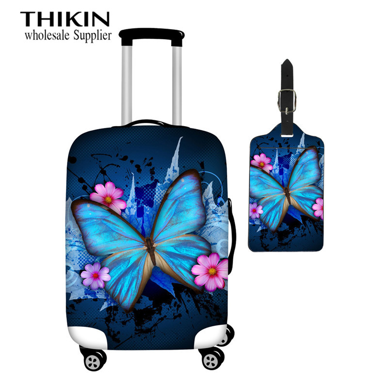 THIKIN Girls Luggage Protective Cover Blue Butterfly Print Fashion Trolley Case Dust Cover For Women Suitcase Cover 18-30 Inch