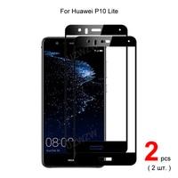 Para Huawei P10 Lite la cobertura completa de vidrio templado Protector de pantalla del teléfono película protectora 2.5D dureza 9H