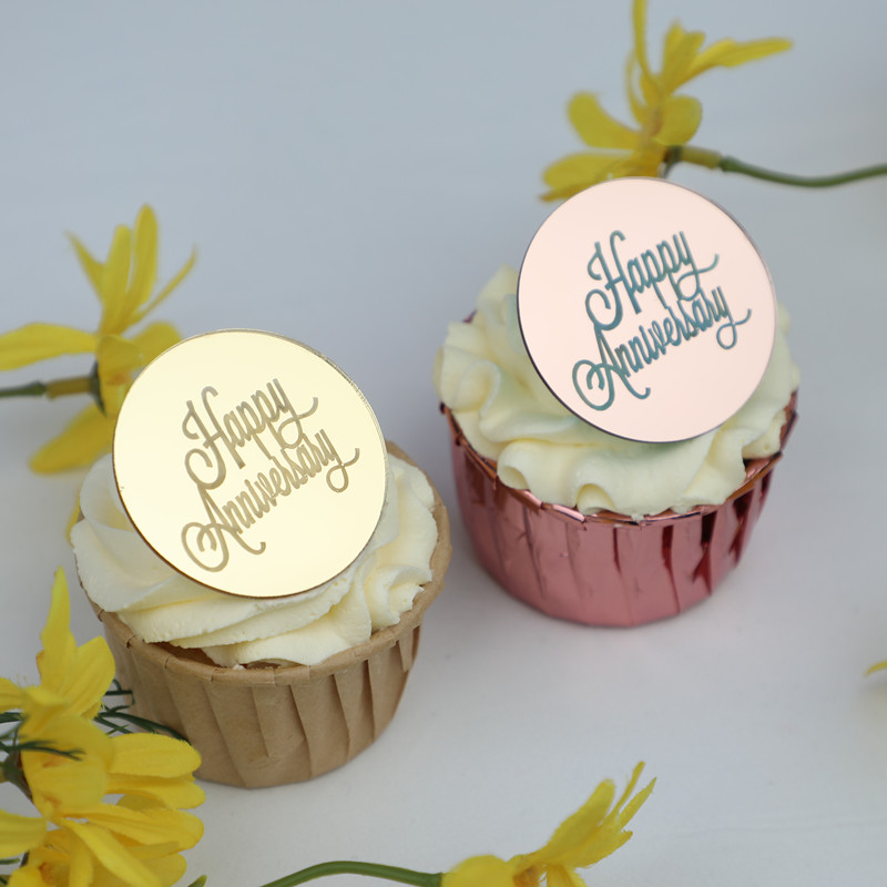 New 5 cm Gold Acrylic Happy Anniversary Cupcake Topper Rose Gold Silver 3D Round Cake Topper For Wending Party Cake Decoration