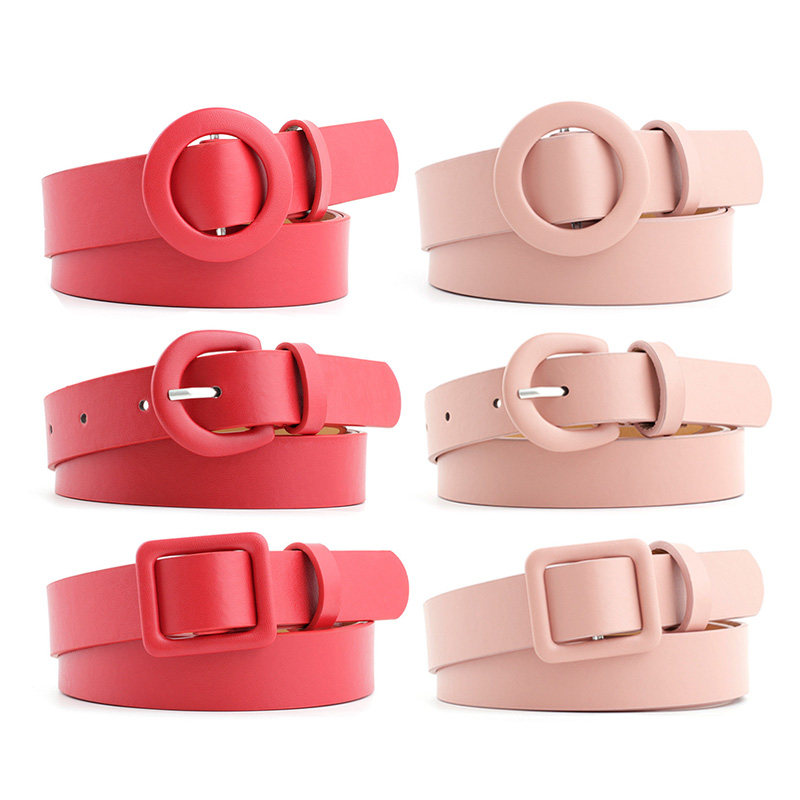 Fashion Women PU Leather Belts Round Square Buckle Candy Colors Designer Ladies Waist Belt Casual Dress Jeans Wild Waistband
