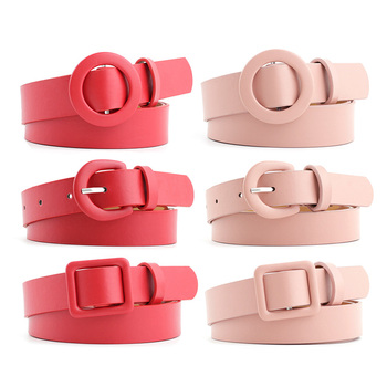 Fashion Women PU Leather Belts Round Square Buckle Candy Colors Designer Ladies Waist Belt Casual Dress Jeans Wild Waistband fashion women pu leather belts solid color square buckle waist belt ladies leisure trouser dress jeans wild decoration waistband