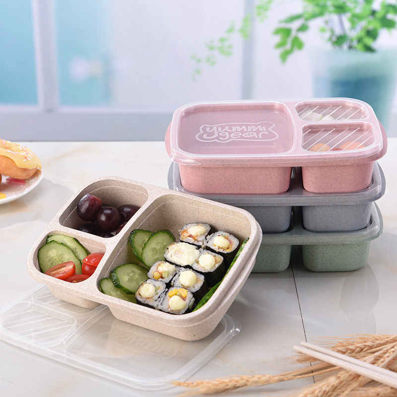 Portable 3 Grid Lunch Box Bento Wheat Straw Microwave Tableware Picnic Box Health Natural Student Container Storage Organizer