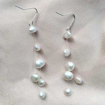 Genuine 925 Silver Tassel Earrings Natural Freshwater Baroque Pearl Drop Earrings For Women Jewelry Fashion Gift [nymph] fine jewelry long tassel pearl earrings natural big baroque pearl drop earrings for women party e321