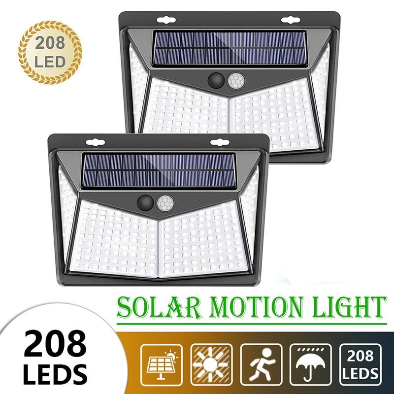 208 LED Solar Light 3 Modes PIR Motion Sensor Light Outdoor Garden Street Security Wall Light IP65 Waterproof