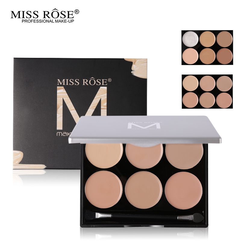 Miss Rose Face Foundation Makeup 6 Color Concealer Palette Base Corrector Contour Kit Highlighter Concealer Cream Long-Lasting image