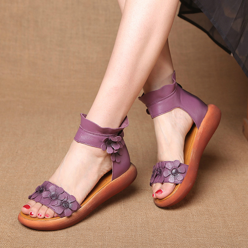 High Quality Flat Women Sandals Genuine Leather Ankle Wrap Flower Casual Ethnic Retro Peep Mother Ladies Shoes Zapatos De Mujer
