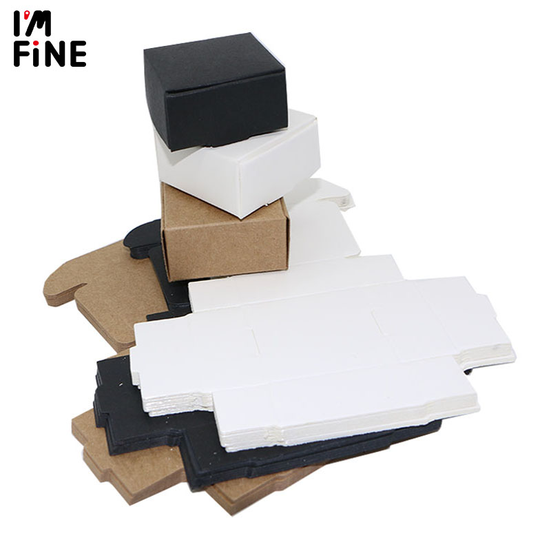 10pcs/lot Small Kraft Paper Box Brown Handmade Soap Box White Craft Paper Gift Box Black Packaging Jewelry Box Cardboard Carton