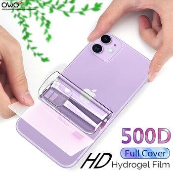 500D tam kapak hidrojel film iPhone 11 ekran koruyucu iPhone 7 8 6s 6 artı SE 2020 XR X XS 12 11 Pro MAX değil cam