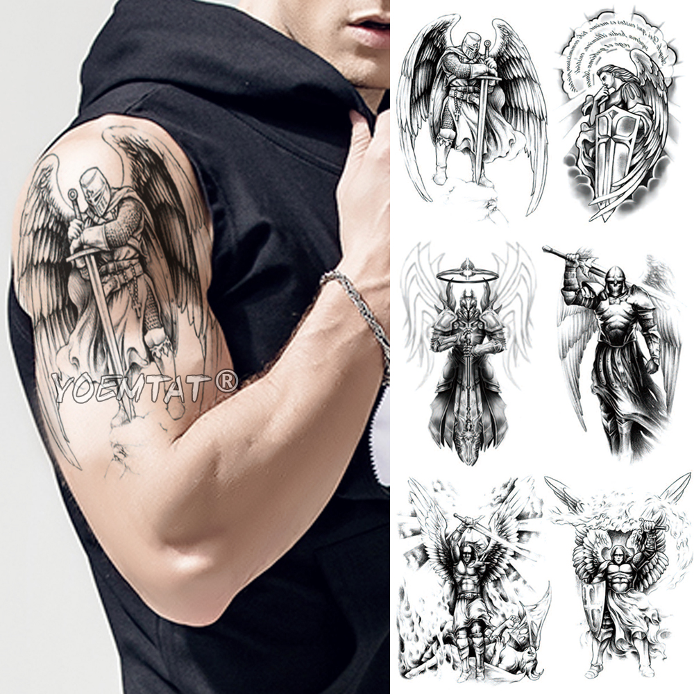 Crusader Knights Samurai Warrior Temporary Tattoo Sticker Ares Waterproof Tatto Hero Wings Body Art Arm Fake Tatoo Men Women