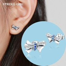 Strollgirl 925 Sterling Silver Eearrings Cute Bowknot Stud Earrings with Clear CZ for Women Fashion Jewelry Valentine's Day Gift цена