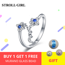 StrollGirl 925 sterling silver rings with CZ unique opening adjustable rings fashion wedding jewelry for women support wholesale стоимость