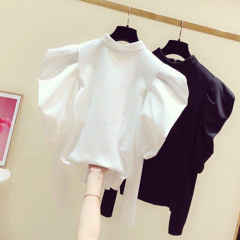 2020 Spring New Korean Style White Shirt Women's Clothing Coat Solid Color Round-Neck Fashion Puff Sleeve Zip Shirt Blouse