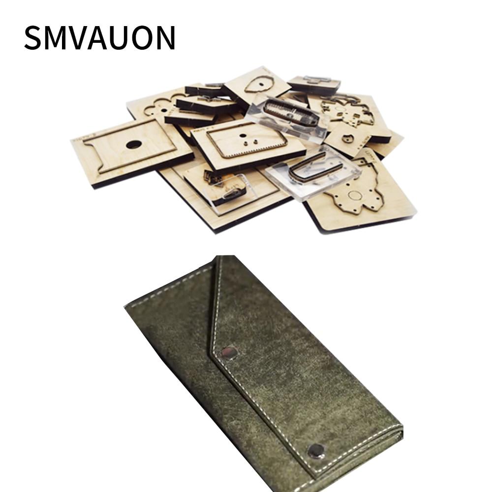 SMVAUON Wood Die Cutting Mold Diy Fashion Multifunctional Long Bag Folding Wallet Hand Bag Straight Die Leather Cutting Die Tool