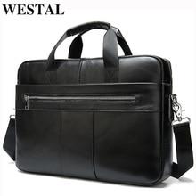 WESTAL ผู้ชาย Briefcases ผู้ชายกระเป๋าแล็ปท็อปของแท้กระเป๋าหนังผู้ชายกระเป๋าสำนักงานสำหรับกระเป๋าเอกสารหนังผู้ชายกระเป๋าสำหรับเอกสาร A4 8523
