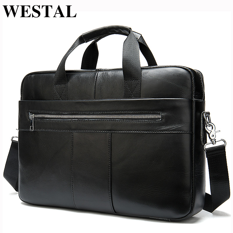 WESTAL Men's Briefcases Men's Bags Genuine Laptop Bag Leather Men Office Bags For Men Leather Briefcase Bag For Document A4 8523