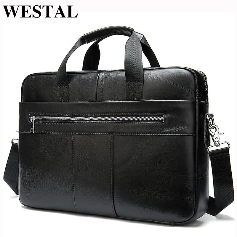 WESTAL Men's Briefcases Men's Bags Genuine Laptop Bag Leather Men Office Bags For Men Leather Briefcase Bag For Document A4 8523