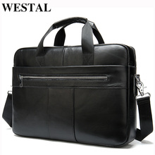 WESTAL Mens Briefcases Mens Bags Genuine laptop bag leather men Office Bags for men leather briefcase bag for Document A4 8523