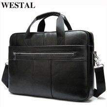 WESTAL maletines de cuero auténtico para hombre, bolsa para ordenador portátil, oficina, documentos, A4 8523