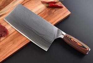 Image 5 - سكين مطبخ من الفولاذ المقاوم للصدأ 7CR17 سكاكين طاه ساطور لحم دمشق رسم