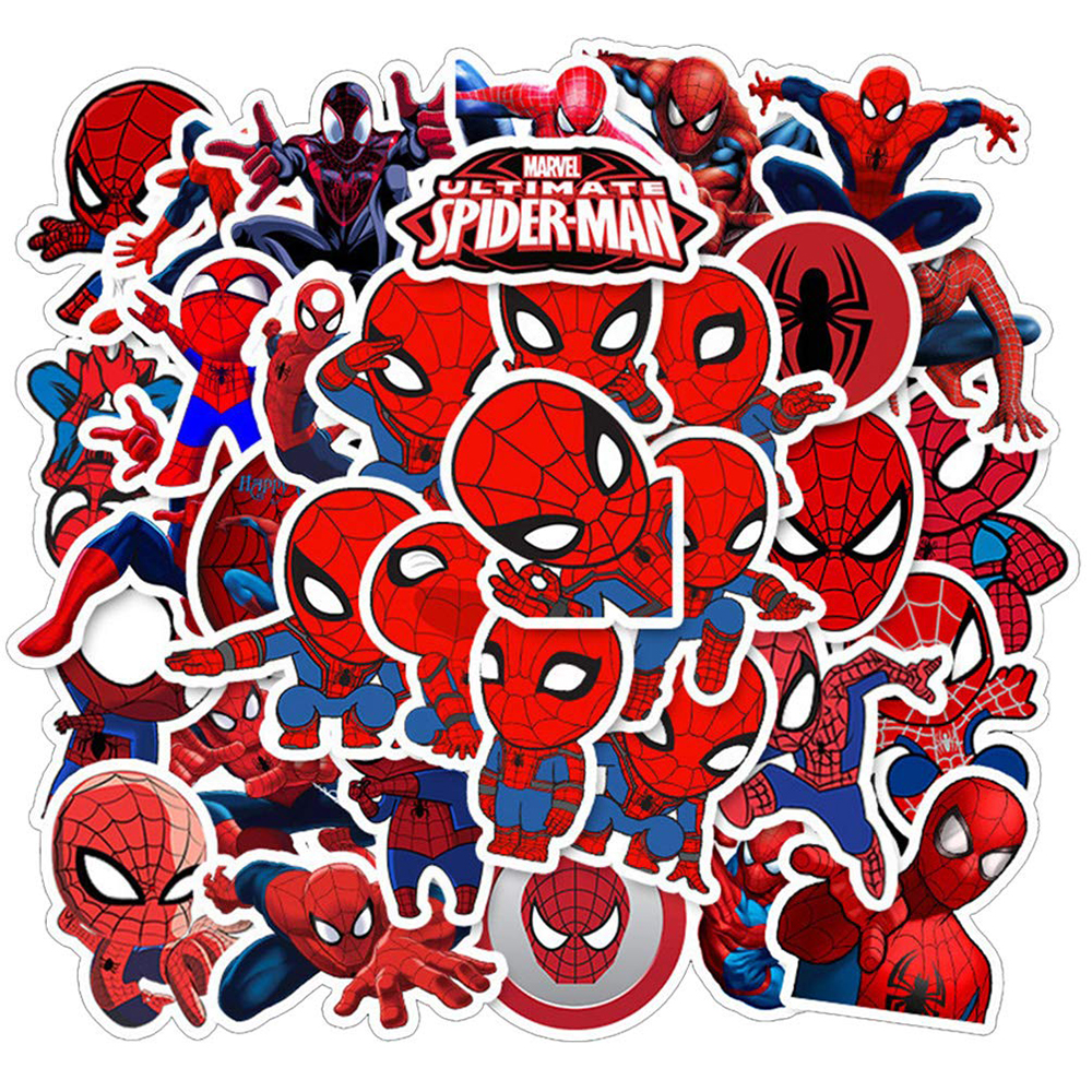 35PCS Marvel Spiderman DIY Stickers Car Motorcycle Travel Luggage Phone Guitar Skateboard Waterproof Classic Toy Decal Stickers