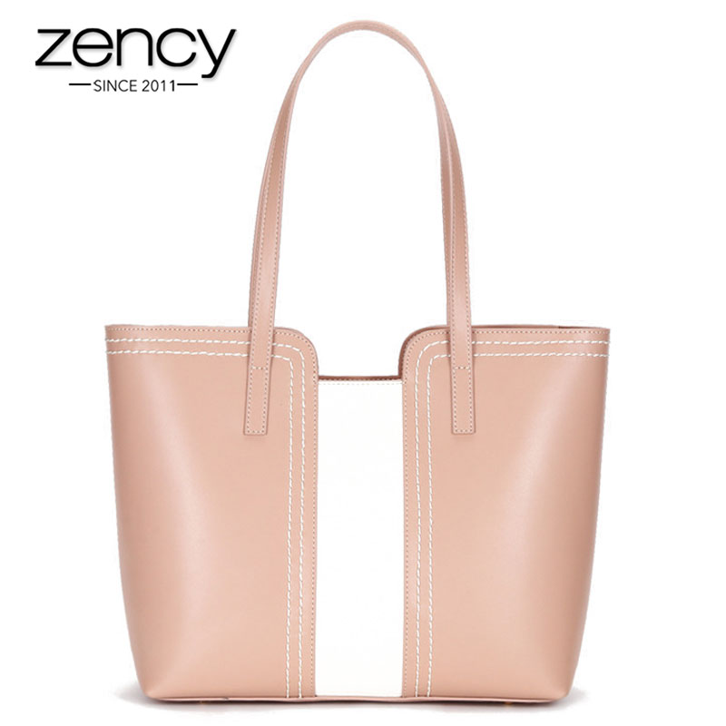 Zency Panelled Colors Women Shoulder Bag 100% Genuine Leather Fashion Commuter Lady Tote Bags Large Capacity Shopping Handbag