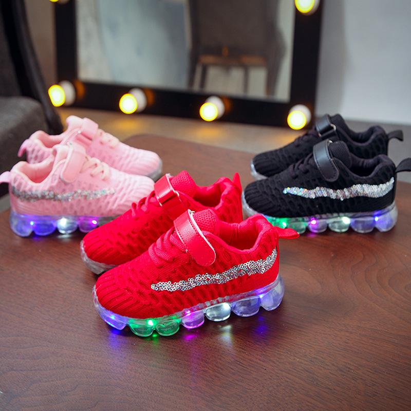 LED Baby Tennis Shoes Air Mesh Breathable Autumn Toddler Girls And Boys Lighting Sneakers Glowing Walking Shoes For Infant 21-30