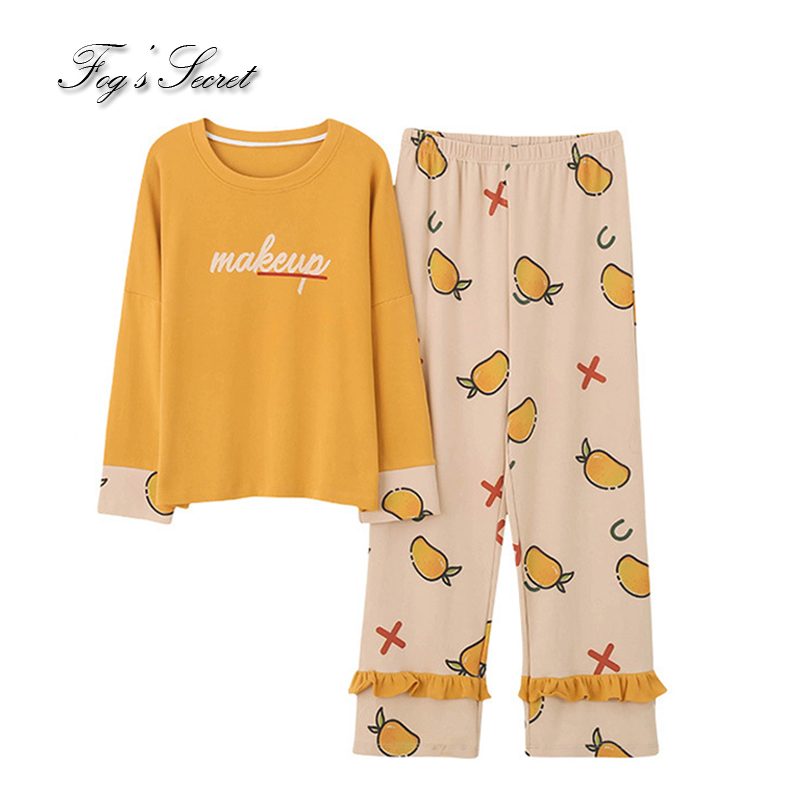 Women pajamas sets loose casual housewear T shirt with long trousers cotton sleepwear pijama feminino 50