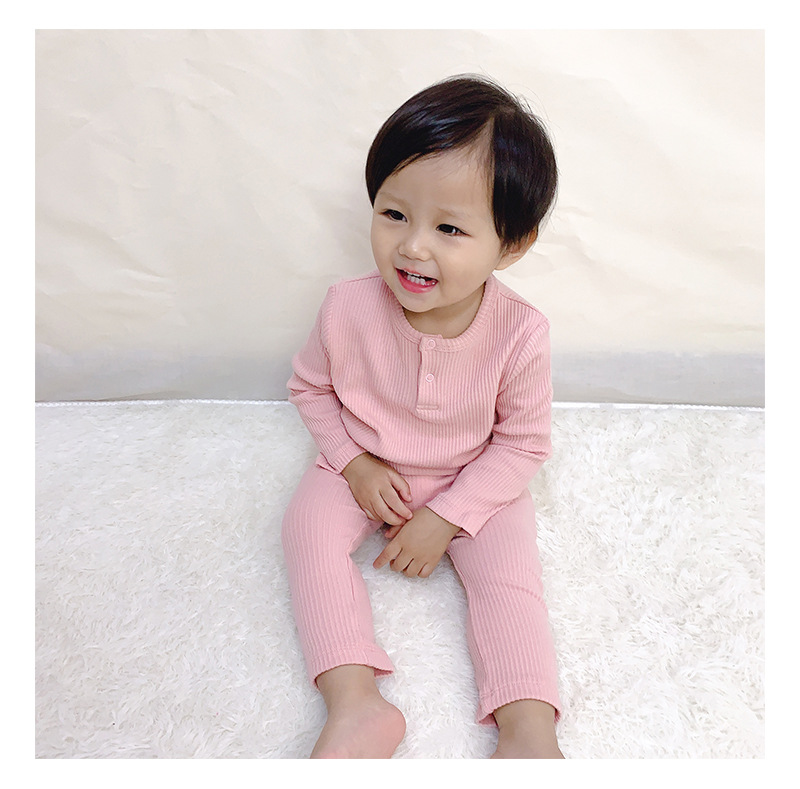 Soft Ribbed Toddler Girl Pajamas For Baby Boys Clothes Set Autumn Winter Children Outfits Long Sleeve Tops Pants 2 Pcs Kids Suit (17)