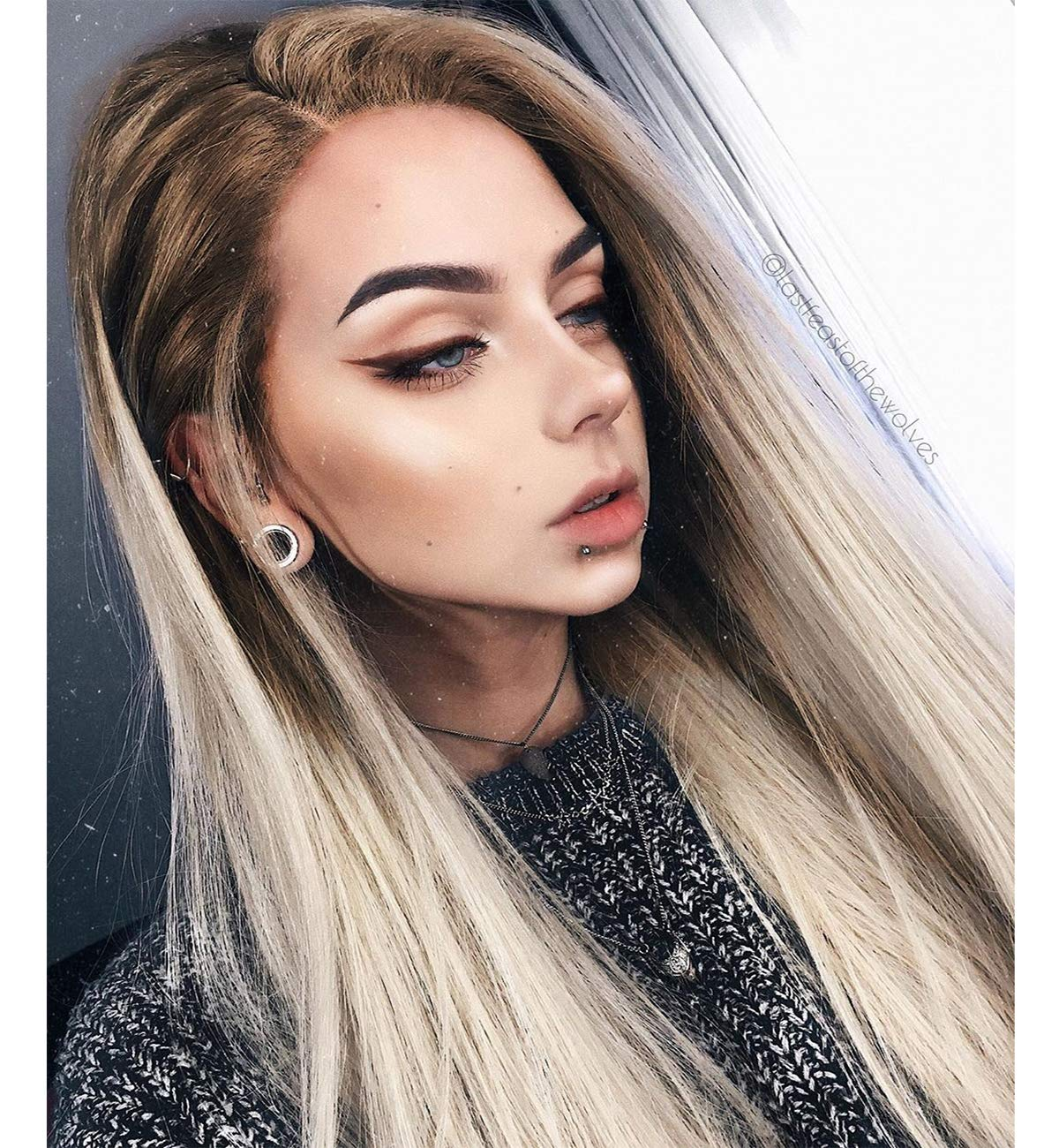 Foggy Brown Rooted Platinum Blonde 13x4 Lace Front Wigs For Women Silky Straight Hair Wig 22 Inches Transparent Lace