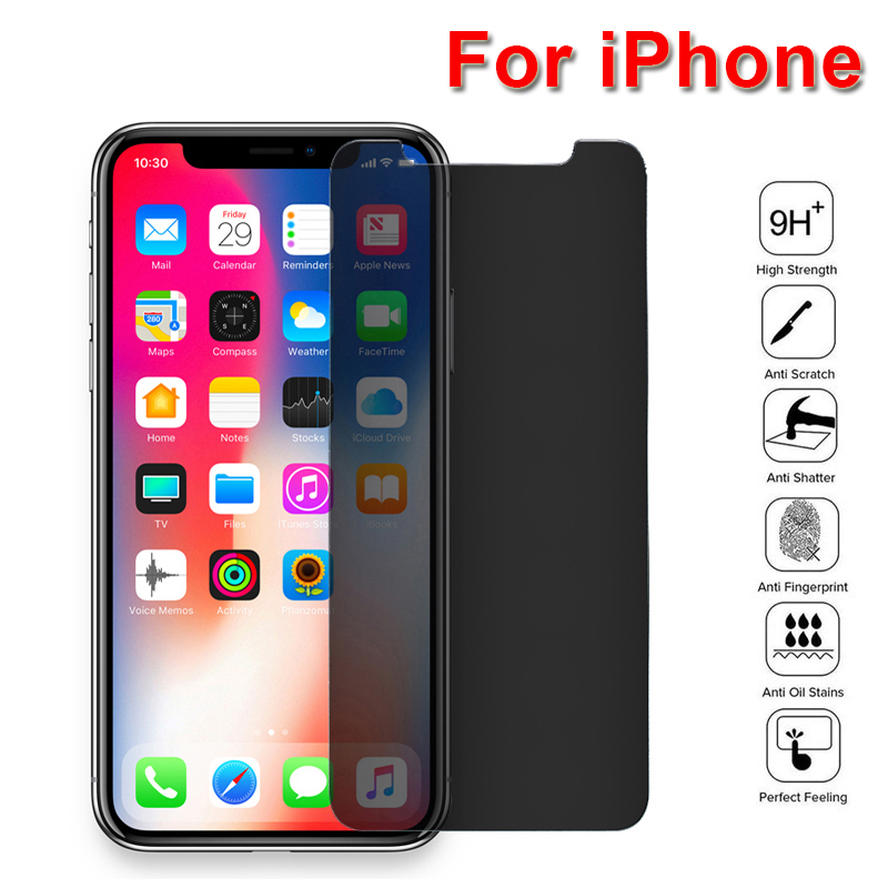 Half Anti Spy Tempered Glass Privacy Screen Protector For IPhone 8 6S Plus Easy To Install Protective Film For X XR XS 11 Pro