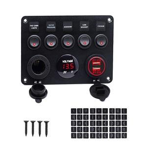 Image 5 - Car Boat Dual USB Socket Charger LED Voltmeter 12V Power Outlet 5 Gang ON OFF Toggle Switch Panel for Car Boat Marine RV Truck