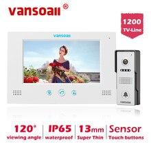 VANSOALL wideodomofon przewodowy drzwi wideo dzwonek telefonu z 7-cal kolorowy Monitor i wodoodporny dzwonek do drzwi wsparcie odblokować