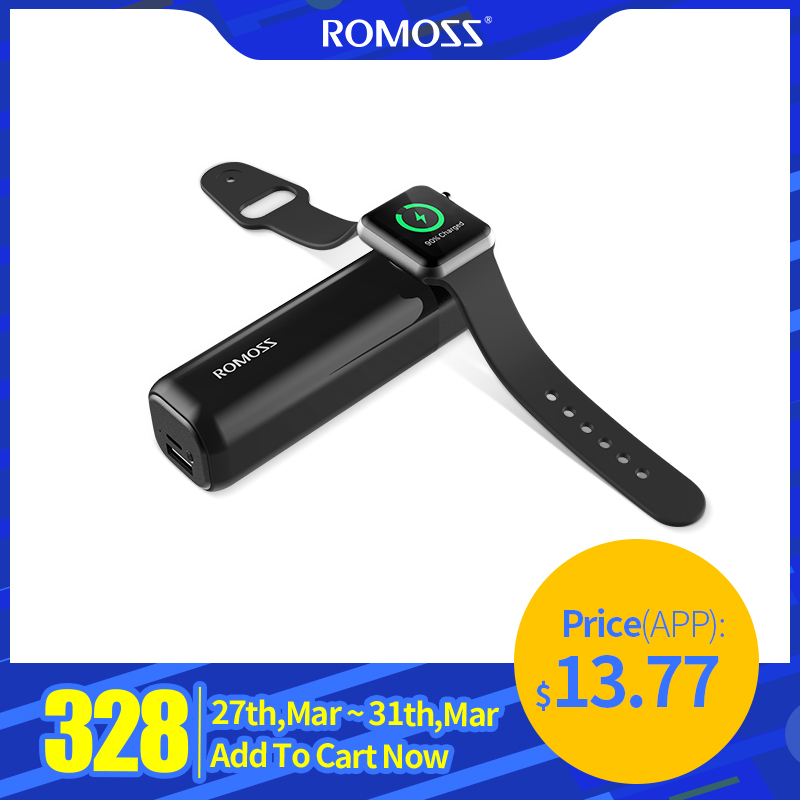 Romoss IRoll 3250mAh Wireless Charger For Apple Watch Dual Port 2A Output Portable Power Bank For IPhone X/8 Plus/8/7Plus/7/6 P