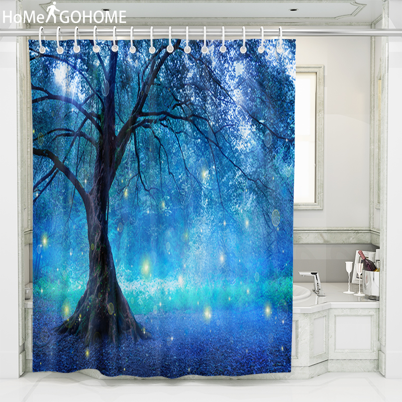 Forest Tree 3D Shower Curtain Blue Psychedelic Bathroom Curtains Waterproof Modern Bath Curtain With Hooks cortina de ducha in Shower Curtains from Home Garden