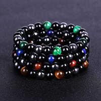 Tiger Eye Stone Bracelets for Men Women Natural Obsidian Bracelets & Bangles Jewelry Hematite Beads Bracelet Gift Pulsera Hombre