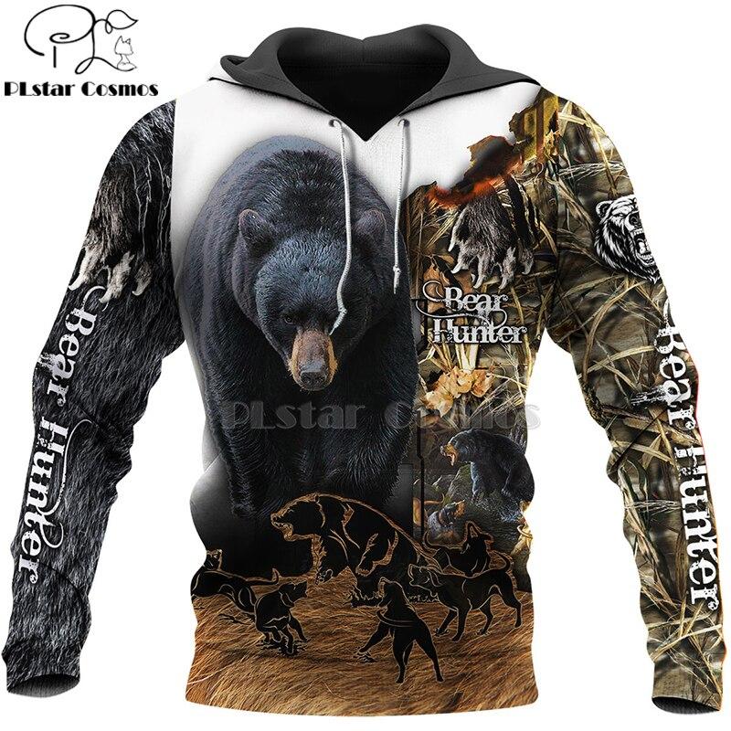 PLstar Cosmos Bear HUNTING 3D  Printed Shirts 3D Print Hoodies/Sweatshirt/Zipper Man Women Big Black Bear Bow Hunter Bear-8