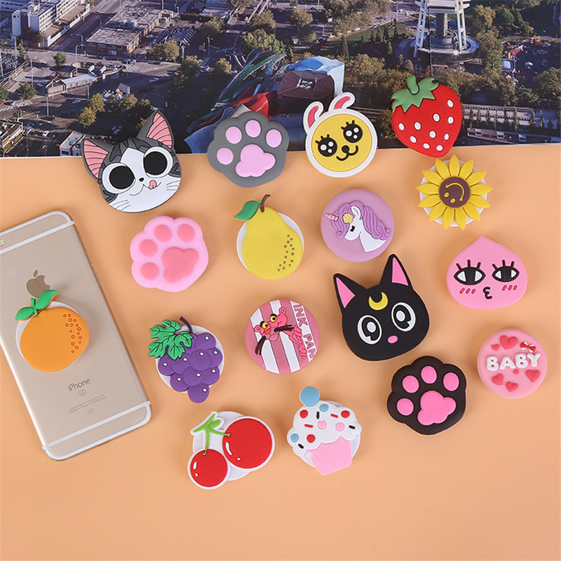 Cute Cartoon Extension Phone Holder For IPhone 6 7 8 X Universal Car Fixed Lazy Hand Finger Ring Grip Holder Flexible Pocket