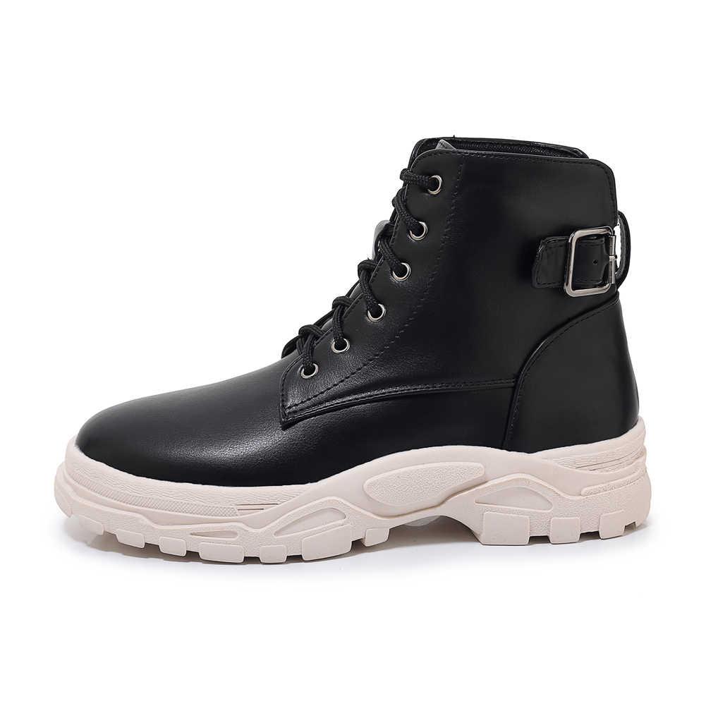 BONJOMARISA yeni artı boyutu 29-46 kadın moda sıcak yarım çizmeler yüksek platformu kış ayakkabı kadın yarım çizmeler patik