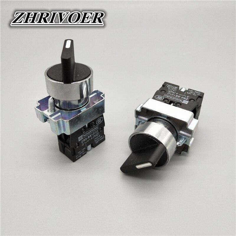 22mm XB2-BD21 XB2-BD33  2/3 Position Self-locking Knob Switch Select Switch 10A/660V Rotary Switch