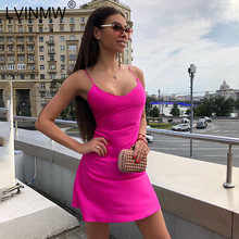 LVINMW Sexy Spaghetti Straps Solid Color A Line Mini Dress 2020 Summer Women Sleeveless Low Cut V Neck Dress Party Streetwear(China)