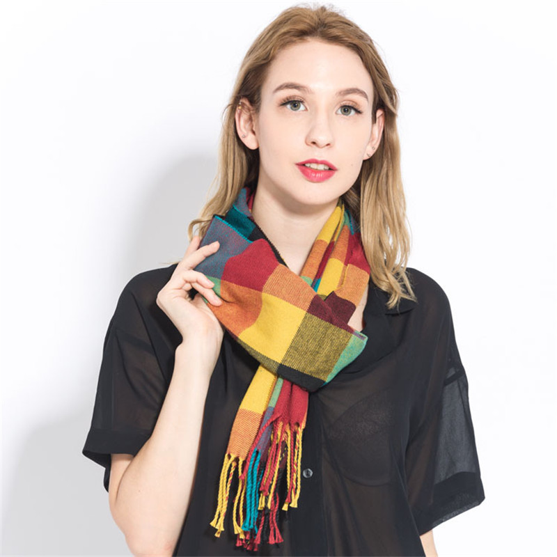 Women Plaid Cashmere Scarf Winter Warm Shawl & Wraps Pashmina Soft Long Tassel