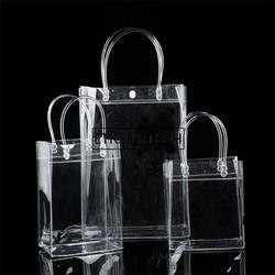 200pcs/lot New Fashion PVC Women Clear Bag Transparent Tote Luxury Design Cosmetic Shoulder Hangbags Storage Bags