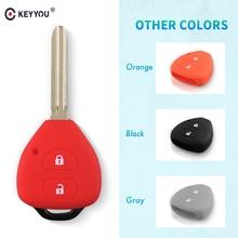 KEYYOU 2 כפתורים סיליקון מפתח Shell עבור טויוטה קורולה Hilux Vitz Rav4 אקווה קאמרי ארץ Cruis רכב סטיילינג מרחוק מפתח Case כיסוי