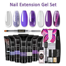 Nail Extension Gel Set Poly Nail Glue Colorful Glitter Shiny Cat Eye Brush File Magnet Cleanser Base&Top Coat Mould Paper Form