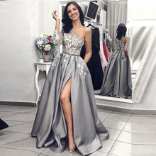 2020 Grey Satin Evening Gown Sexy Split Long Prom Dresses with Pockets One Shoulder Long Sleeves Illusion Lace Prom Dress grey one shoulder long sleeves midi dress